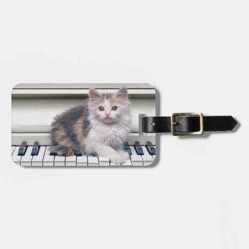 Gatito y el piano etiquetas de maletas