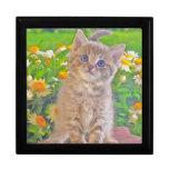 Gatito y flores cajas de recuerdo