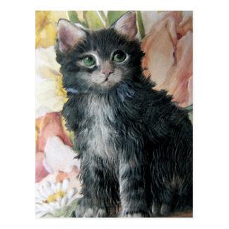 gatito y flores postal