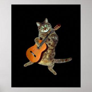 Gatito y guitarra póster