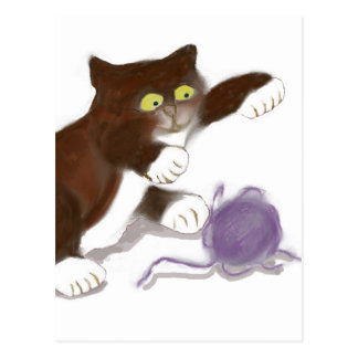Gatito y la bola púrpura del hilado tarjetas postales