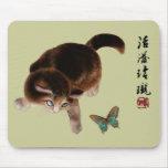 Gatito y mariposa Mousepad Tapetes De Ratones