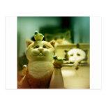 Gatito y pájaros tarjeta postal