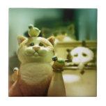 Gatito y pájaros tejas  ceramicas