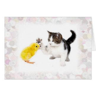 Gatito y polluelo del bebé tarjeta de felicitación