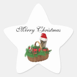 Gatito y ratón divertidos de moda lindos de Santa Pegatina En Forma De Estrella