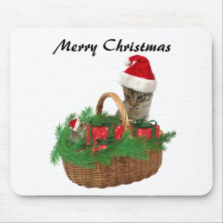 Gatito y ratón divertidos de moda lindos de Santa Alfombrillas De Ratón