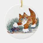 Gatito y tortuga del tigre de Brown Ornamentos Para Reyes Magos