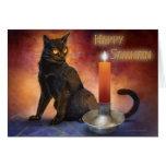 Gatito y vela felices de Samhain Tarjetón