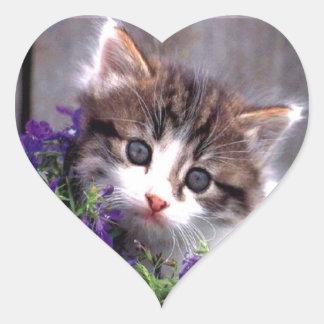 Gatito y violetas pegatina en forma de corazón