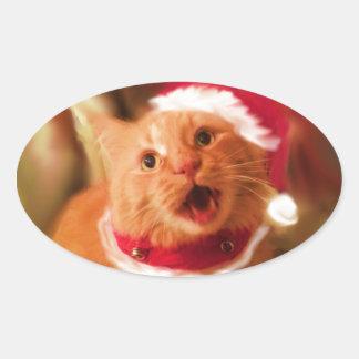 Gatitos 1 del navidad pegatina ovaladas personalizadas
