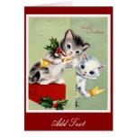 Gatitos 2 de las Felices Navidad de la tarjeta del