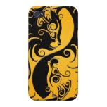 Gatitos amarillos y negros de Yin Yang iPhone 4/4S Funda