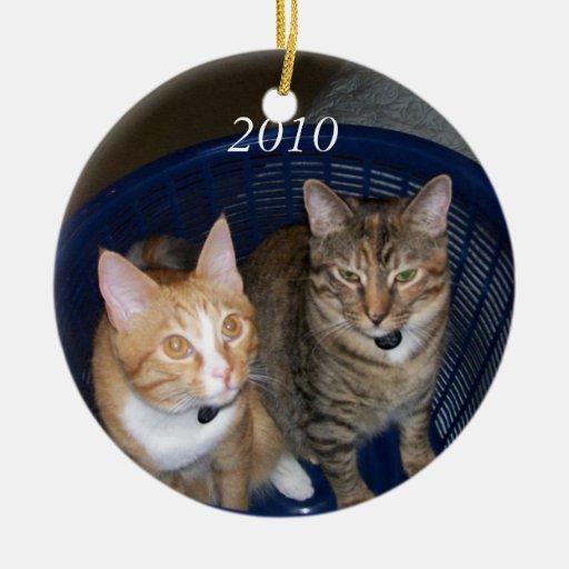 Gatitos anaranjados y grises del Tabby Ornamento De Navidad