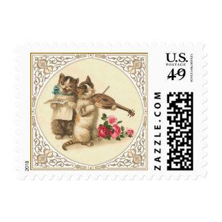 Gatitos antropomorfos que hacen música timbres postales