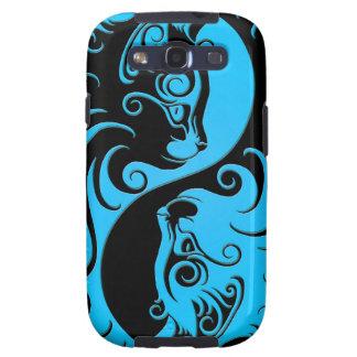 Gatitos azules y negros de Yin Yang Galaxy SIII Funda