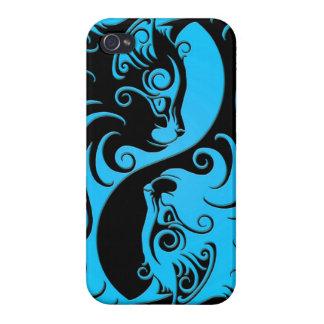 Gatitos azules y negros de Yin Yang iPhone 4 Cobertura