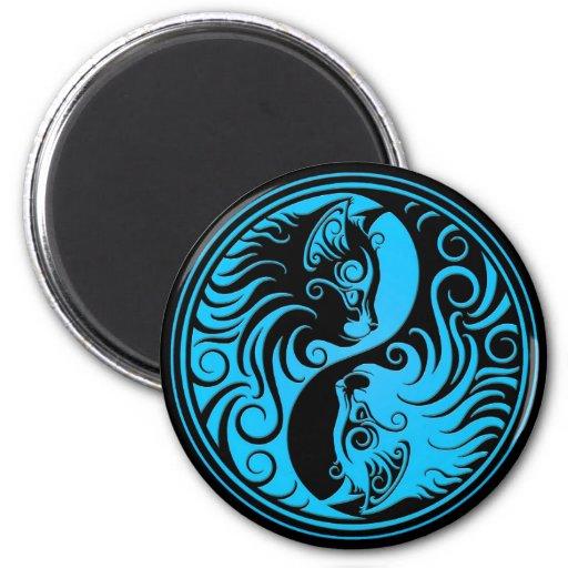 Gatitos azules y negros de Yin Yang Imán Redondo 5 Cm