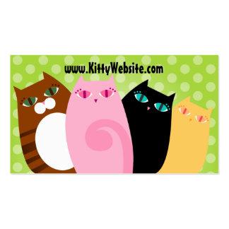 Gatitos bonitos en verde tarjetas de visita