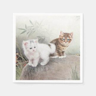Gatitos chinos del arte dos del gato servilleta de papel