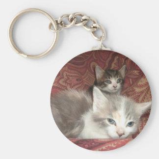 Gatitos cómodos llavero redondo tipo pin