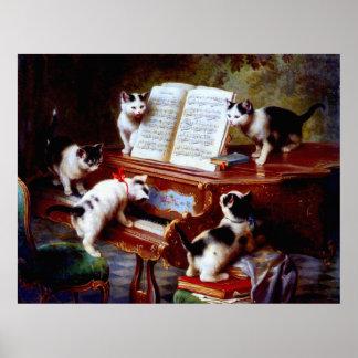 Gatitos de Carl Reichert del vintage que juegan el Póster