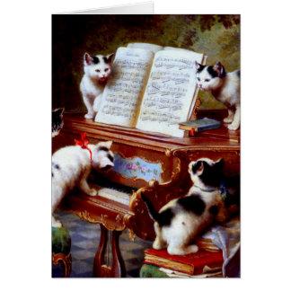 Gatitos de Carl Reichert que juegan el piano Tarjeta De Felicitación