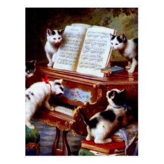 Gatitos de Carl Reichert que juegan el piano Postal