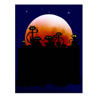 Gatitos de Halloween y postal de la luna de Hallow