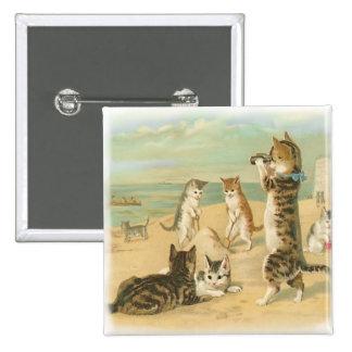 Gatitos de la playa pin cuadrado