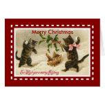 Gatitos de los gatos de las Felices Navidad de la Tarjeta De Felicitación