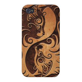 Gatitos de piedra de Brown Yin Yang iPhone 4 Fundas