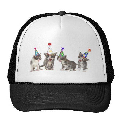 gatitos del cumpleaños gorros bordados