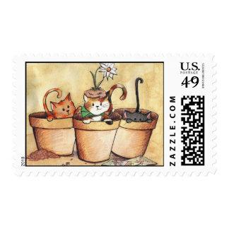 Gatitos del jardín sellos
