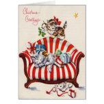 Gatitos del navidad del vintage tarjetón