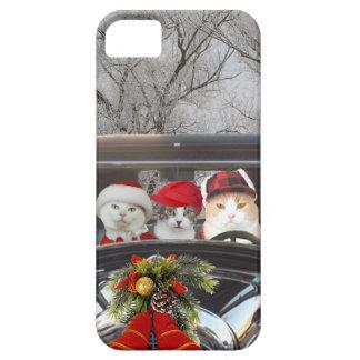 Gatitos del navidad en el camino funda para iPhone SE/5/5s