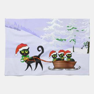 Gatitos del navidad toalla de mano