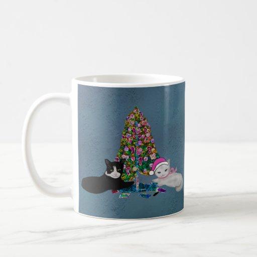 Gatitos del navidad taza de café