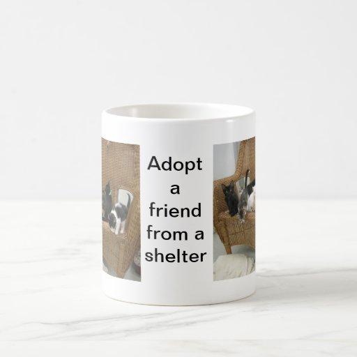 Gatitos del refugio taza básica blanca