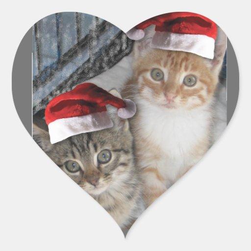 Gatitos del Tabby del navidad Calcomania Corazon