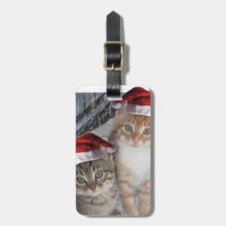 Gatitos del Tabby del navidad Etiquetas De Maletas