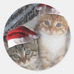 Gatitos del Tabby del navidad Pegatina Redonda