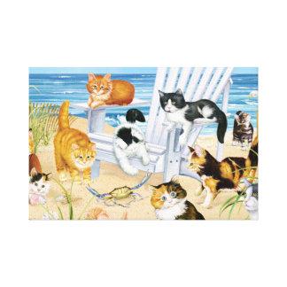 Gatitos del vago de la playa impresión en lienzo