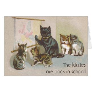 Gatitos en clase de nuevo a tarjeta de la escuela