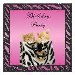 Gatitos en cumpleaños del brillo del estampado de  anuncio personalizado