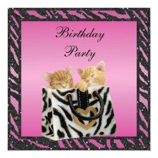 """Gatitos en cumpleaños del brillo del estampado de invitación 5.25"""" x 5.25"""""""