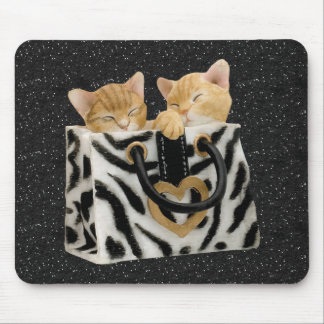 Gatitos en el brillo Mousepad del negro del bolso  Tapetes De Ratones