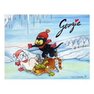 Gatitos en el hielo tarjetas postales