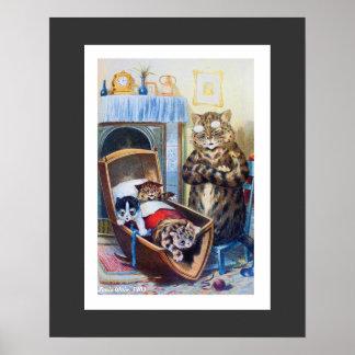 Gatitos en la cuna de Louis Wain Póster