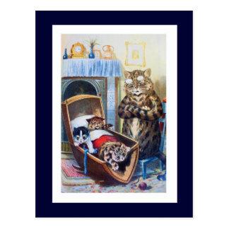Gatitos en la cuna postales